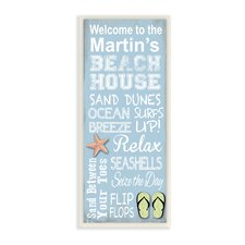 Personalized Beach House Starfish and Sandals by Janet White Graphic Art Plaque