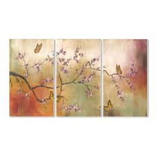 Pink Blossoms and Butterflies Triptych 3 Piece Painting Print Plaque Set