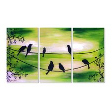 Birds on a Wire Triptych 3 pc Painting Print Plaque Set