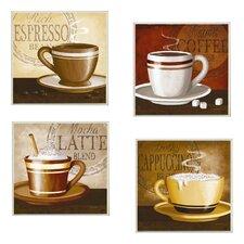 Espresso, Coffee, Latte, Cappuccino 4 pc Graphic Art Plaque Set