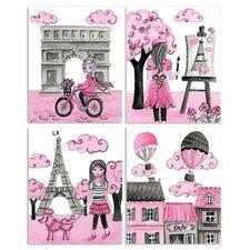 The Kids Room Paris 4 pc Wall Plaque Set