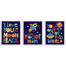 The Kids Room I Love You to the Moon and Back 3 pc Wall Plaque Set