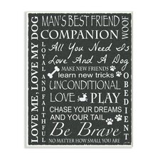 Dog Man's Best Friend Black and White Typography Wall Plaque