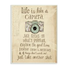"""Life Is like a Camera"" Inspirational Typography Graphic Art Plaque"
