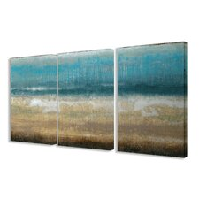 Twilight Coast 3 Piece Framed Painting Print on Wrapped Canvas Set