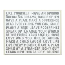 Like Yourself Inspirational Typography Wall Plaque