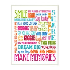 The Kids Room Smile Make Memories Rainbow Typography Wall Plaque