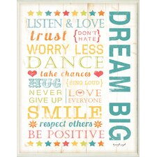 The Kids Room Dream Big Kids Typography Wall Plaque