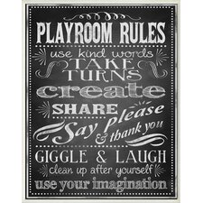 The Kids Room Black and White Chalkboard-look Playroom Rules Wall Plaque