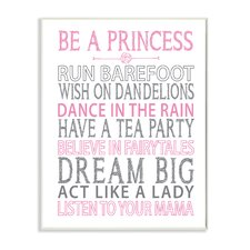 The Kids Room 'Be a Princess Pink Typog' by Susan Newberry Textual Art Plaque