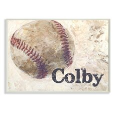 Personalized Baseball with Painted Look Wall Décor