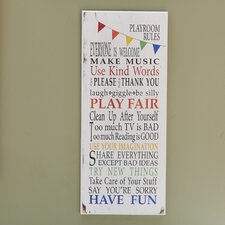 The Kids Room Rainbow Playroom Rules Wall Plaque
