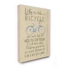 Life Is like a Bicycle' Icon Inspirational Typography Stretched Canvas Art
