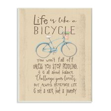 Life Is like a Bicycle' Icon Inspirational Typography Wall Plaque