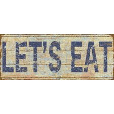 Let's Eat Distressed-Look Typography by Marilu Windvand Textual Art Plaque