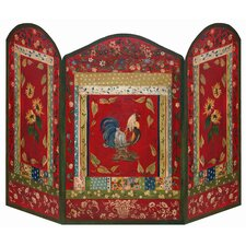 Red Rooster 3 Panel Fireplace Screen