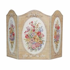Tapestry and Floral 3 Panel Fireplace Screen