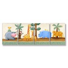 The Kids Room Hippo, Giraffe, Rhino, Tiger 4 pc Wall Plaque Set
