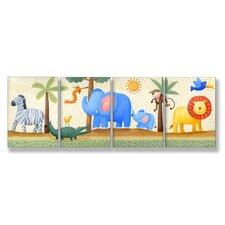 The Kids Room Zebra, Elephant, Lion, 4 pc Wall Plaque Set