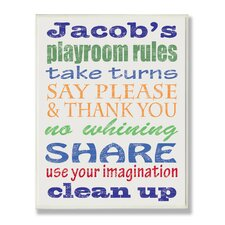Kids Room Personalization Boy's Typography Playroom Rules Wall Plaque