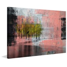 Pink Painted View Painting Print on Wrapped Canvas