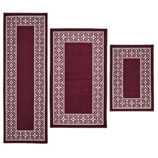 3 Piece Tripoli Burgundy Area Rug Set