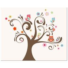 Owl and Bird Tree Art Print
