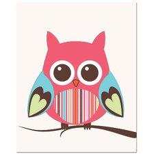 Strip Belly Owl on Tree Art Print