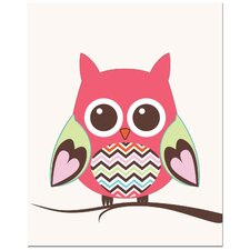 Zig Zag Belly Owl on Tree Art Print
