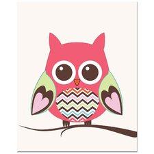 Zig Zag Belly Owl on Tree Art Print