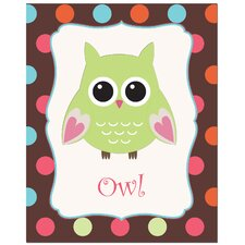 Owl with Polka Dot Back Ground Art Print