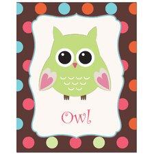 Owl with Polka Dot Back Ground Art Print