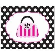 Fashion Striped Handbag with Polka Dot Border Art Print