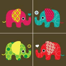 Four Elephants Paper Print