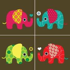 Four Elephants Paper Print