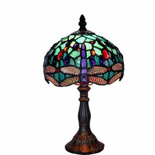 "Tiffany-Style Dragonfly 12"" H Table Lamp with Bowl Shade"