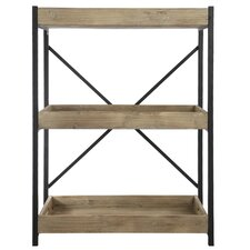 """Wood and Metal Low 35"""" Etagere Bookcase"""