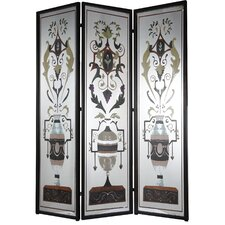 "75.5"" x 59"" Decorative Screen Metal/Iron 3 Panel Room Divider"