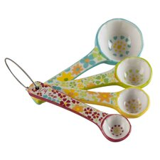 4 Piece Earthenware Floral Measuring Spoon Set
