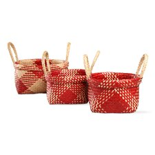 3 Piece Christmas Alden Plaid Basket Set (Set of 3)