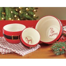 Santa Belt Sentiment Salad Bowl 3 Piece Set