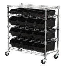 Mobile Bin Shelf with Bins
