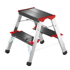 221cm L90 225 ChampionsLine Aluminium Folding Steps with black Step
