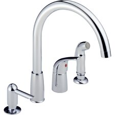 Single Handle Deck Mounted Kitchen Faucet with Soap Dispenser