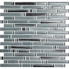 Brushstrokes Peltro Random Sized Glass Mosaic Tile in Gray