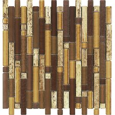Varietals Aligote Random Sized Stone and Glass Mosaic Tile in Brown