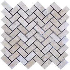 Herringbone Travertine Mosaic Tile in Beige