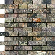 """1"""" x 2"""" Marble Mosaic Tile in Rain Forest Green"""