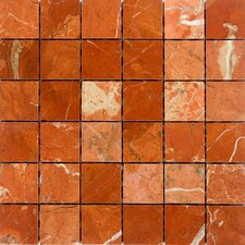 "2"" x 2"" Marble Mosaic Tile in Rojo Alicante"