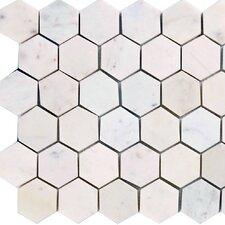 "Hexagon 2"" x 2"" Marble Mosaic Tile in Italian Venatino"